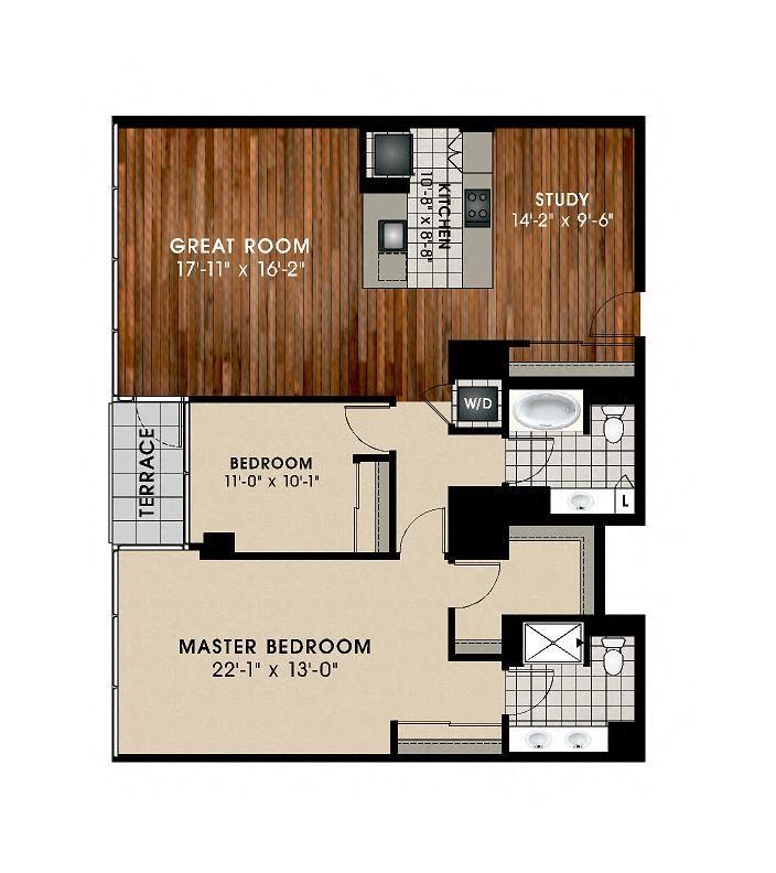 B8 2 Bedroom 2 Bathroom Floor Plan at Optima Old Orchard Woods, Skokie