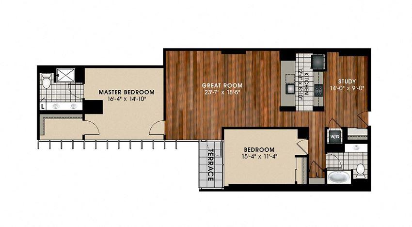 B10 2 Bedroom 2 Bathroom Floor Plan at Optima Old Orchard Woods, Illinois, 60077