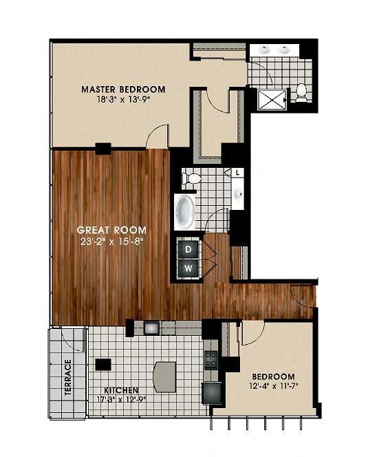 B11 2 Bedroom 2 Bathroom Floor Plan at Optima Old Orchard Woods, Skokie, IL, 60077