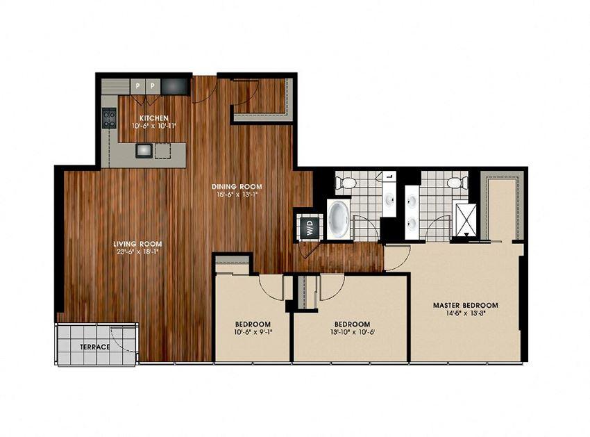 C1 3 Bed 2 Bath Floor Plan at Optima Old Orchard Woods, Skokie, 60077