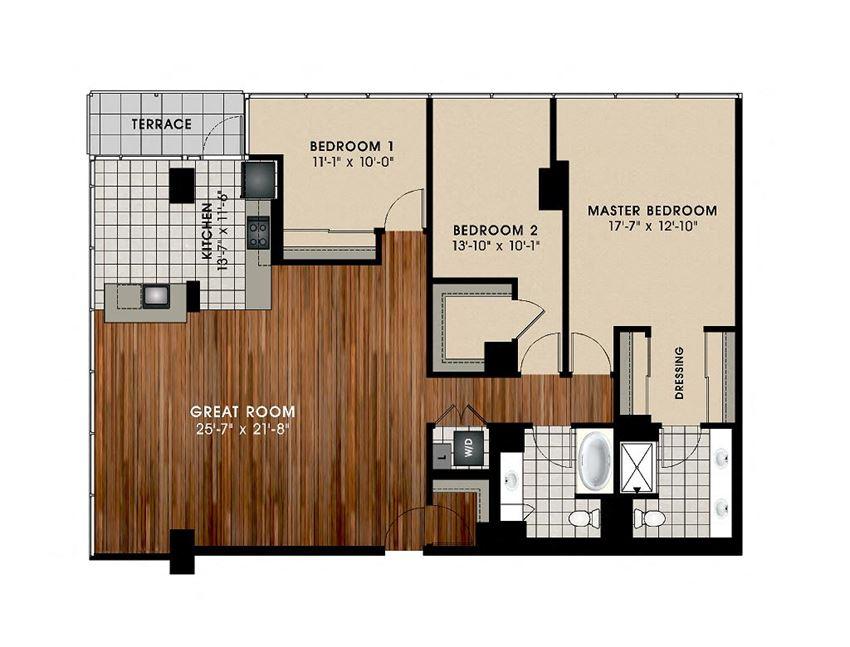 C2 3 Bedroom and 2 Bath Floor Plan at Optima Old Orchard Woods, Skokie, Illinois