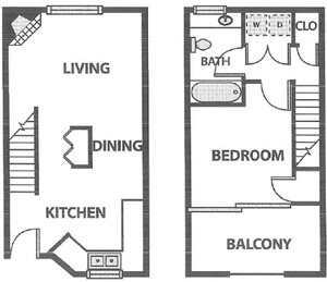 One Bedroom Townhouse at 750 sq ft