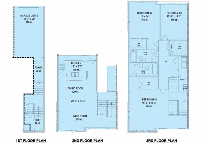 RiverWatch Apartments Patapsco 3 Bedroom Floor Plan