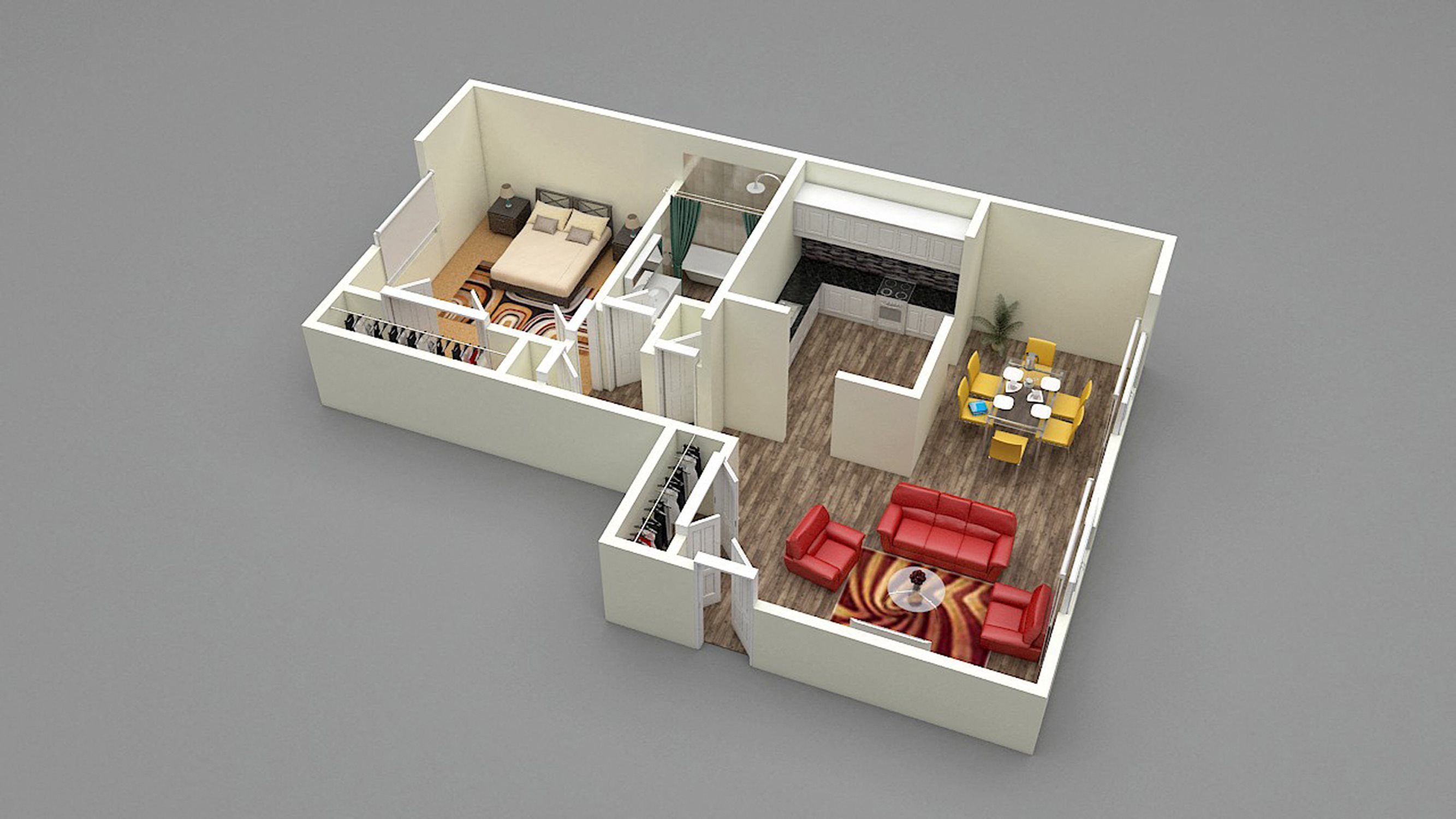 One Bed - One Bath - C2 Floor Plan 2
