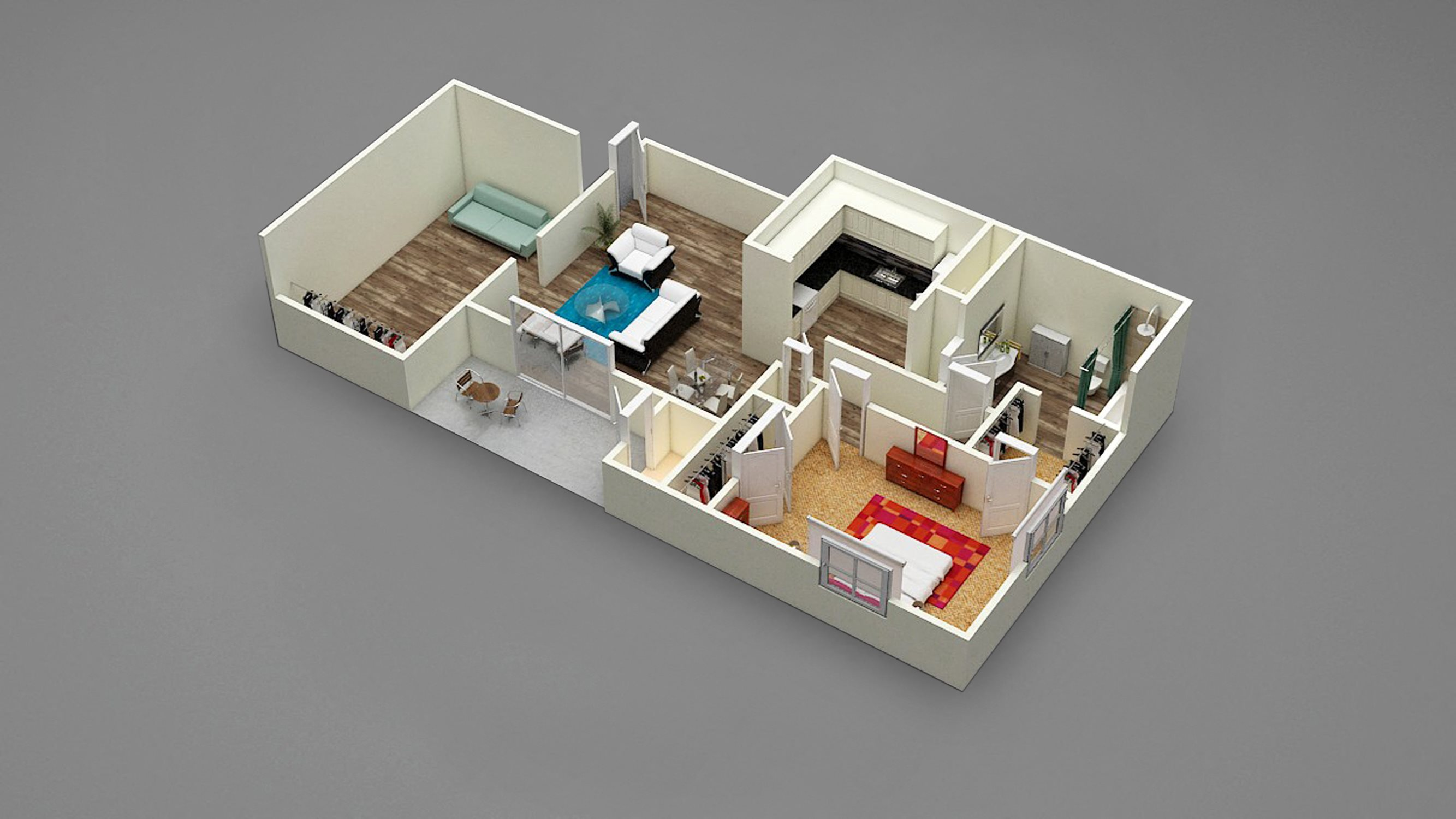 One Bed | One Bath | Den | C4 Floor Plan 4