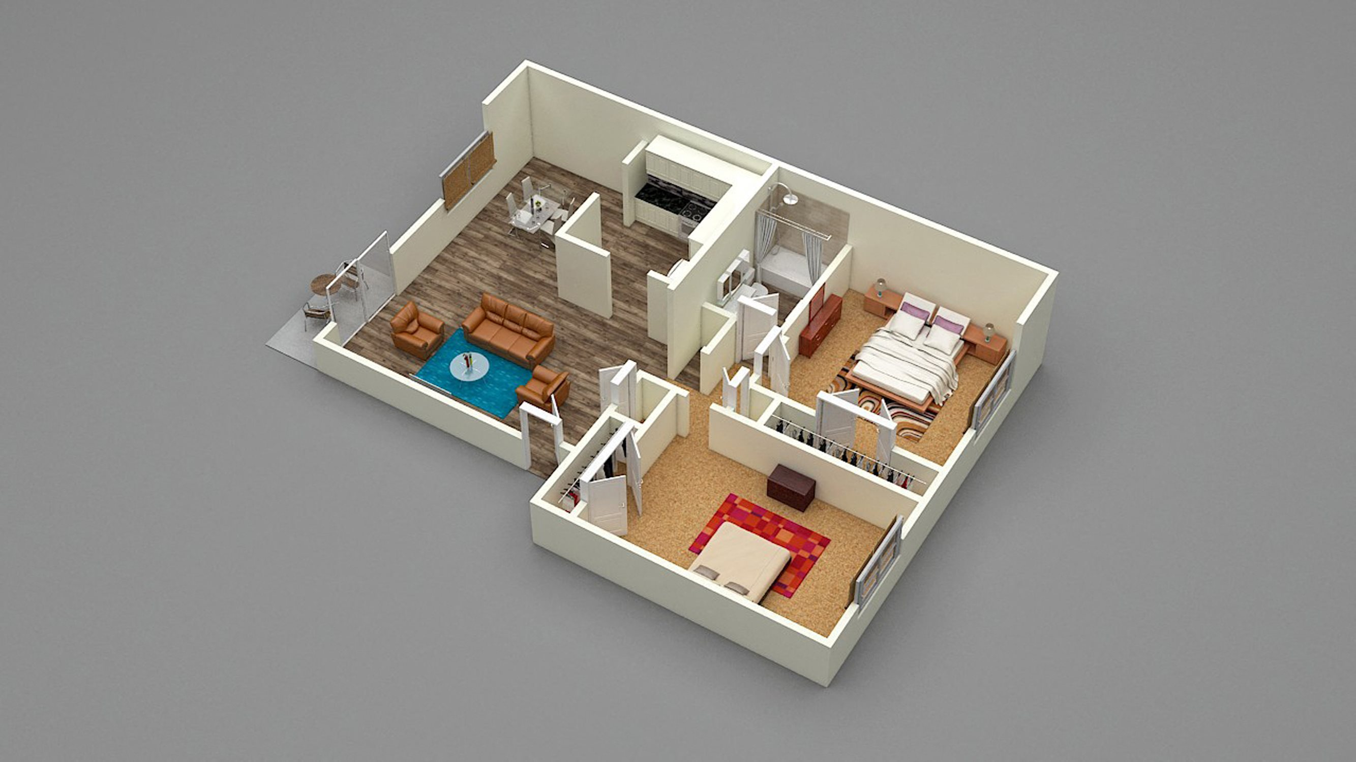 Two Bed - One Bath - D1 Floor Plan 5