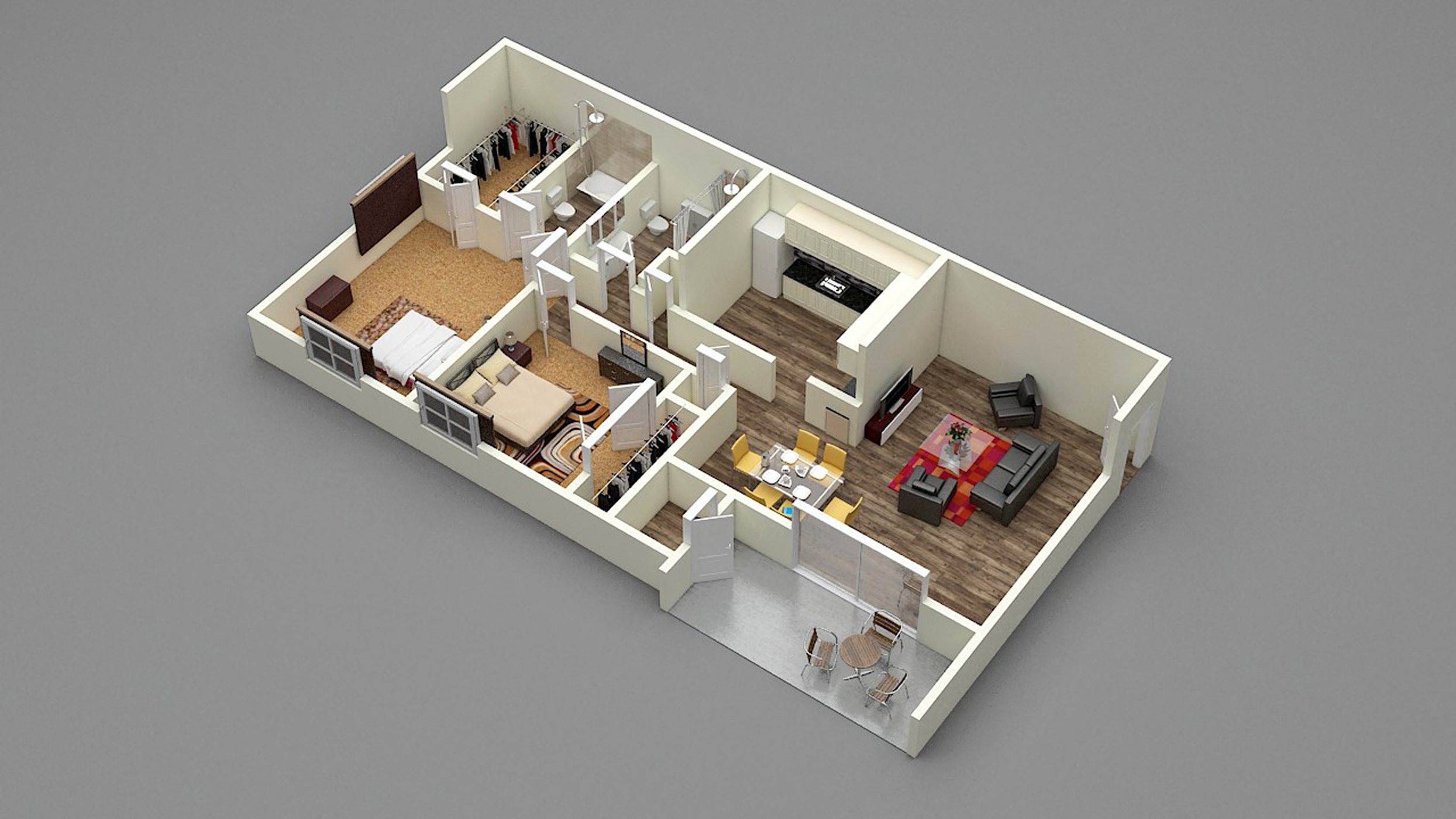 Two Bedroom - Two Bath - D2 Floor Plan 6