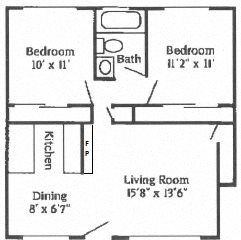 2B 1B Fireplace Floor Plan 5
