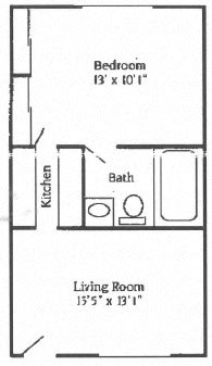 1B 1B Small Floor Plan 1
