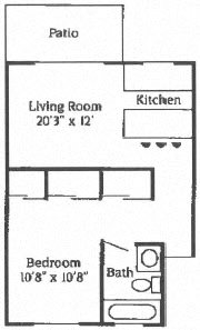 1B 1B Patio Floor Plan 2