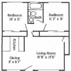 2B 1B Standard Floor Plan 4