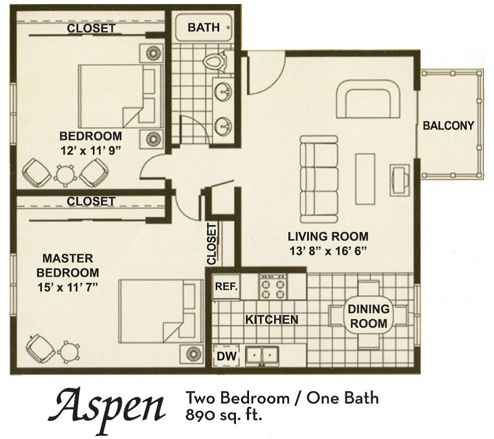 2B 1B Floor Plan 5