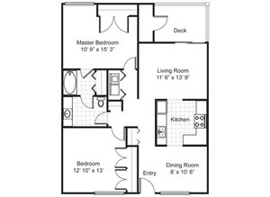 2 BEDROOM 1 BATH (1020 SF)