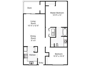 2 BEDROOM 1 BATH (950 SF)