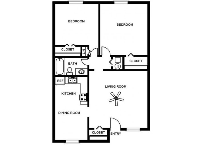 2 Bedroom Garden Floor Plan 3