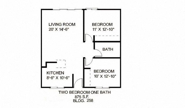 2B 1B S Floor Plan 1
