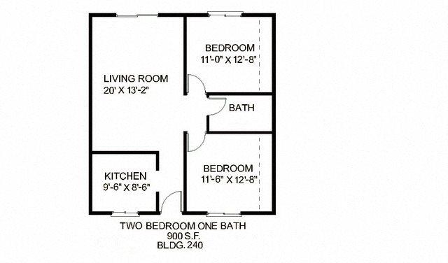 2B 1B L Floor Plan 2