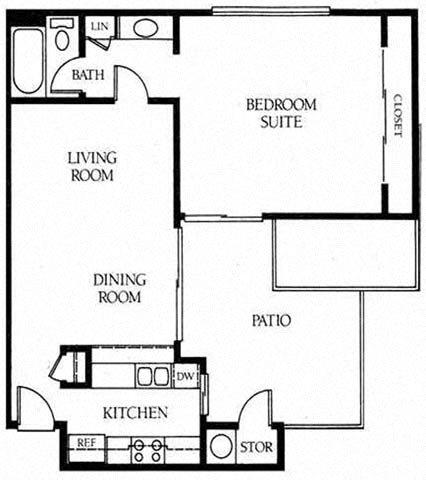 1B 1B Floor Plan 1