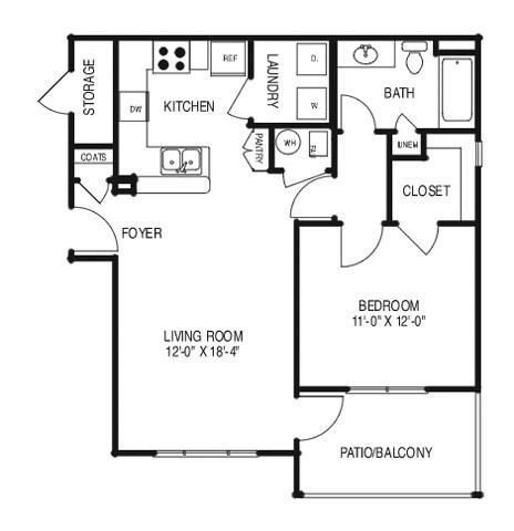 Renovated Floor Plan A (A1R) Floor Plan 1