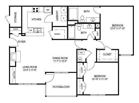 Renovated Floor Plan C (B1R) Floor Plan 4