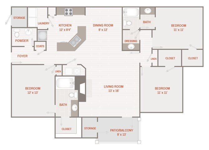 Renovated Floor Plan E (C1R) Floor Plan 7