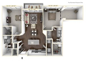 B3 - 2 Bed - 2 Bath With Den