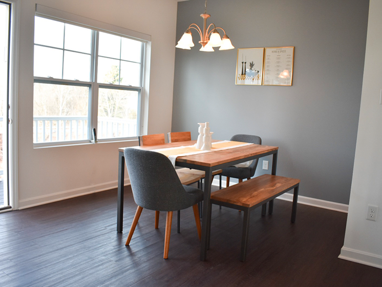 Dining Room with hardwood flooring, Highland Village Townhomes in Ross Township, Pittsburgh, PA