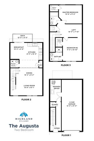 The Augusta Floorplan, 2 Bedroom w/ Loft, Highland Village Townhomes in Ross Township, Pittsburgh, PA