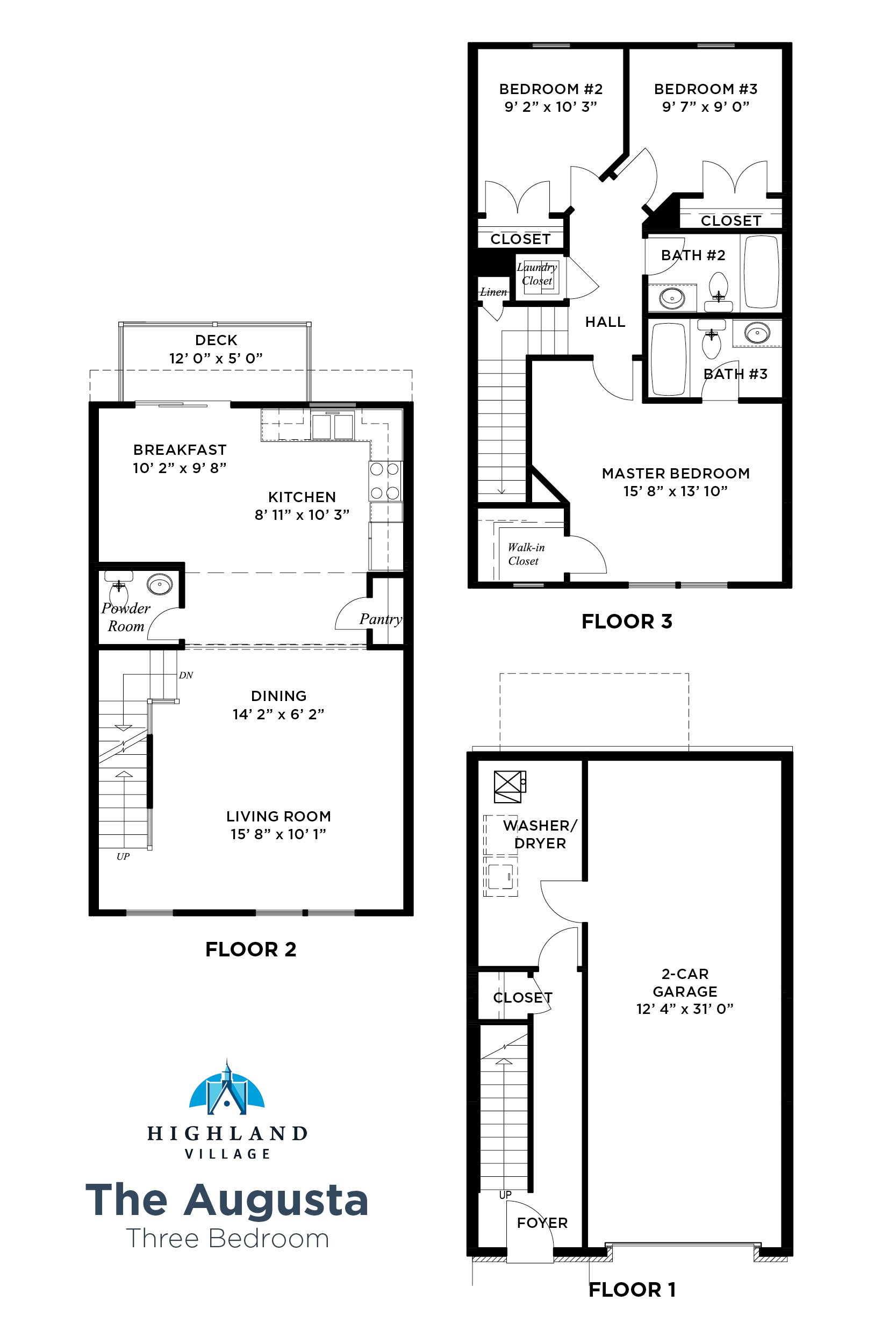 The Augusta Floorplan 3 Bedroom, Highland Village Townhomes in Ross Township, Pittsburgh, PA