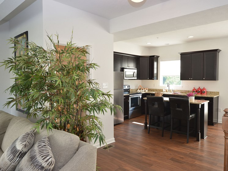 Living Room and Kitchen, Highland Village pet-friendly Townhomes in Ross Township, Pittsburgh, PA