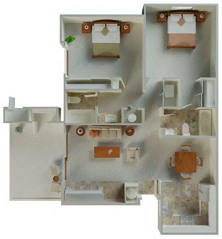 Belmont 2x2 1035 sqft floor plan