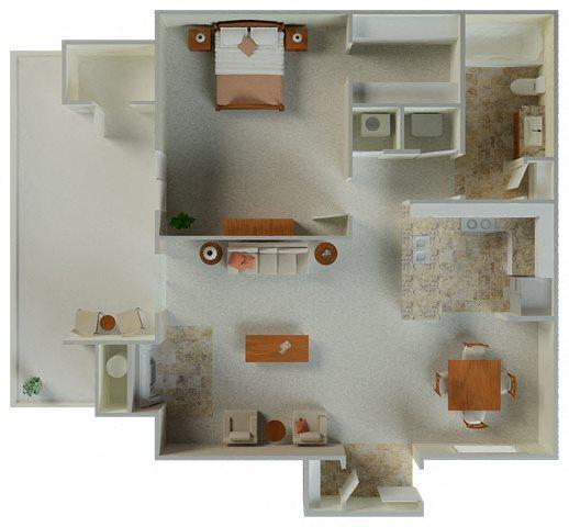 Lexington 1x1 724 sqft Floor Plan