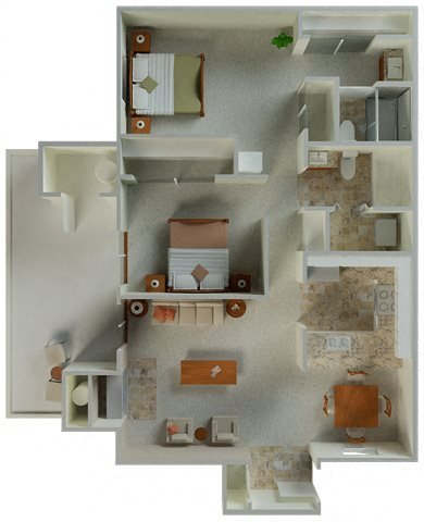 Preakness 2x2 964 sqft floor plan