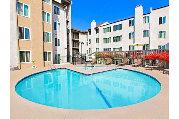 Sparkling Pool and Spa at Woodcliff Apartments, 3201 Overland Avenue, Los Angeles, California