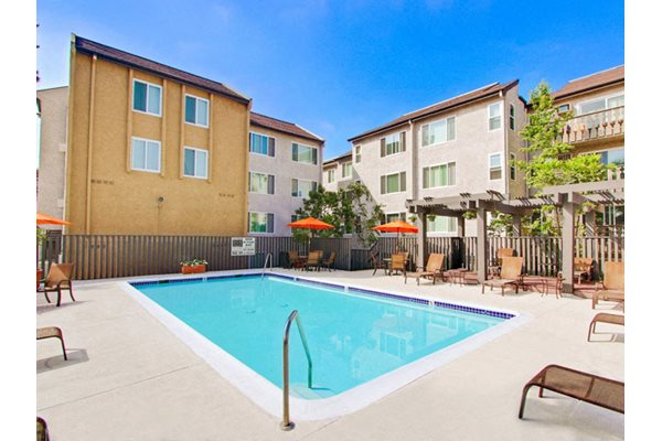 One of two sparkling pools at Woodcliff Apartments, 3201 Overland Ave, 90034, California