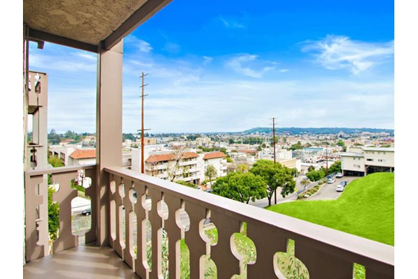 Balcony/Patio with select units at Woodcliff Apartments, The Palms, Los Angeles