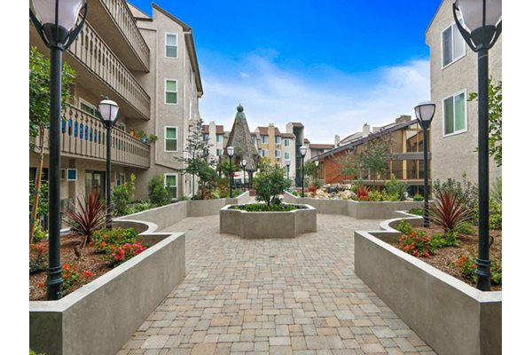 Award-winning Landscaping with beautiful waterfalls and streams at Woodcliff Apartments, Los Angeles, California