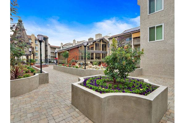 Relaxing Zen Garden at Woodcliff Apartments in LA, California, 90034