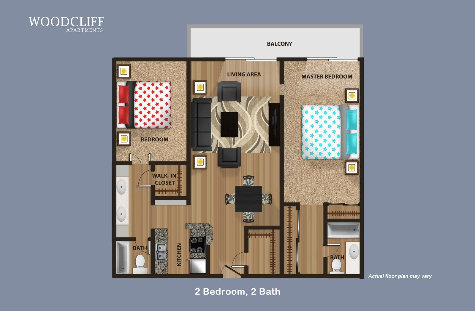 2 Bed 2 Bath Floor plan at Woodcliff Apartments, California, 90034