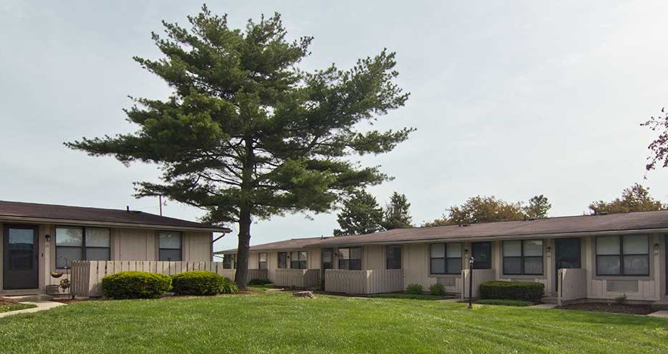 Hartwick Apartments panorama shot with tree