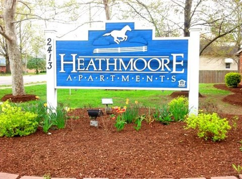Monument sign at Heathmoore Evansville.