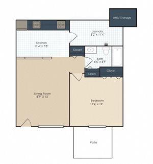 The Hampton - 1 Bedroom, 1 Bath