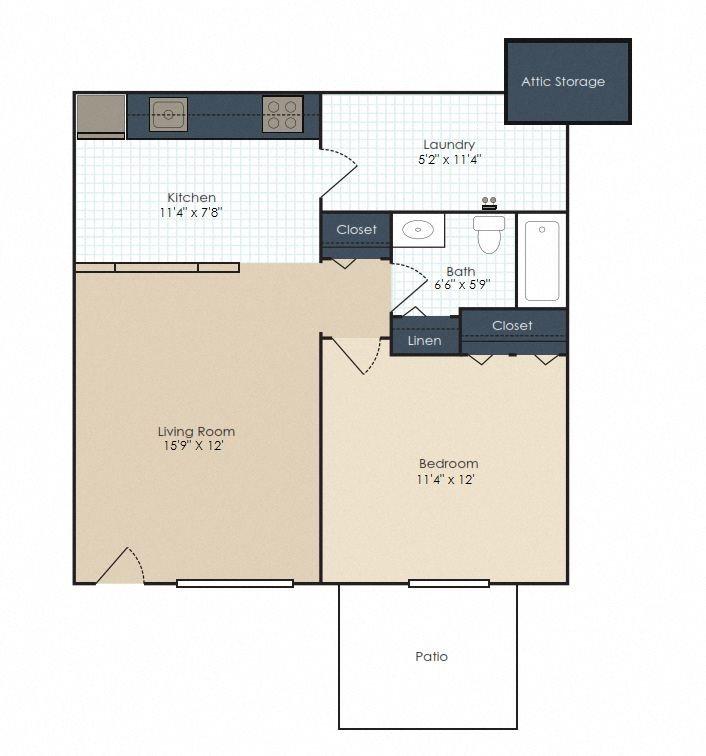 The Hampton - 1 Bedroom, 1 Bath Floor Plan 1