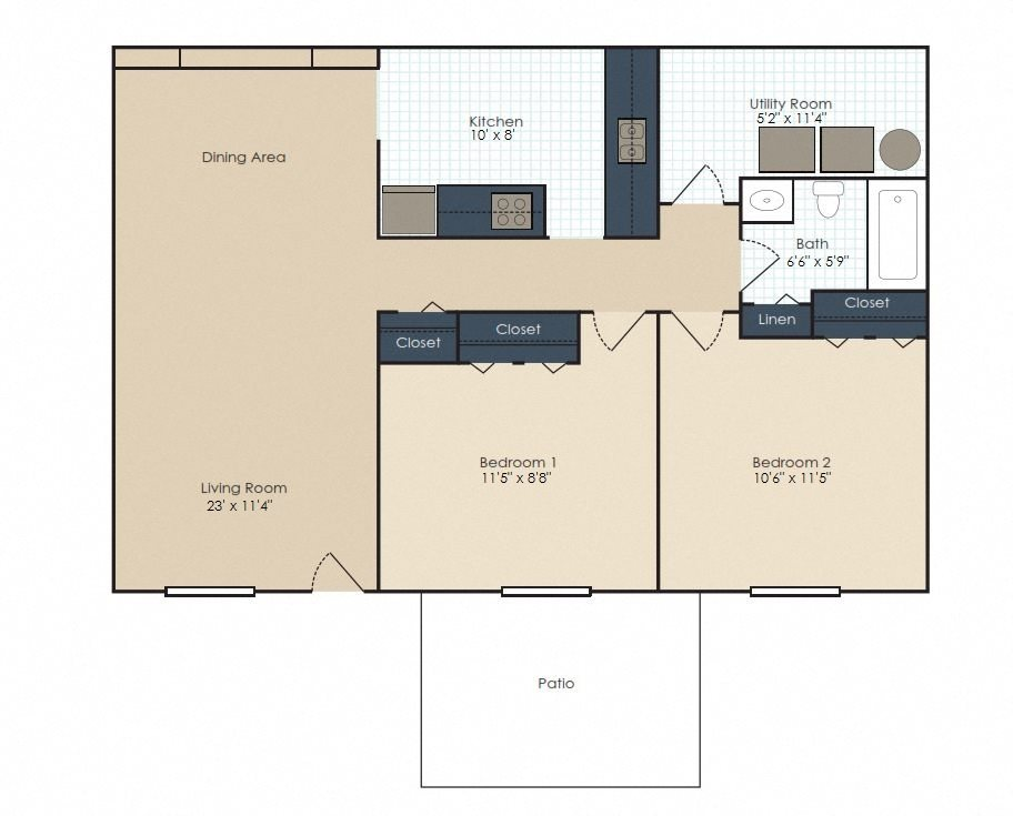 The Sterling - 2 Bedroom, 1 Bath Floor Plan 2