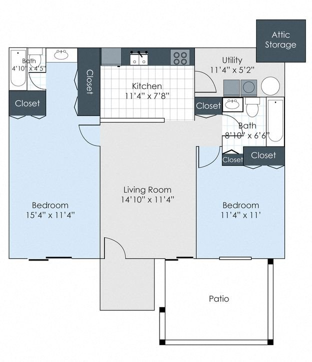 The Hadley - 2 Bedroom, 2 Bath Floor Plan 3