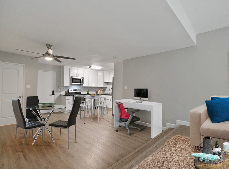 Modern Apartment Rentals with den Near Century City, hardwood style floorings throughout