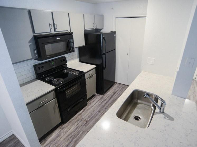 updated kitchen in north austin luxury apartments