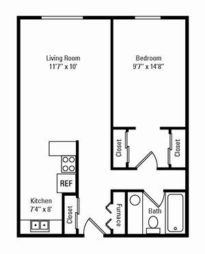 1 Bedroom, 1 Bath 550 sq. ft.
