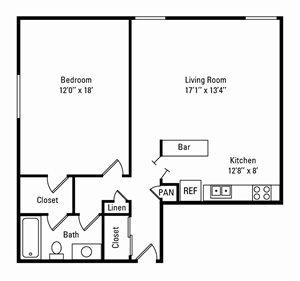 1 Bedroom, 1 Bath 720 sq. ft.
