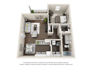 1 Bedroom, 1 Bath 783 sq. ft.